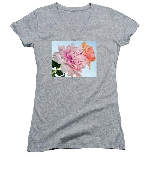 Two Flowers Women's V-Neck T-Shirt (Junior Cut) by Elvira Ladocki