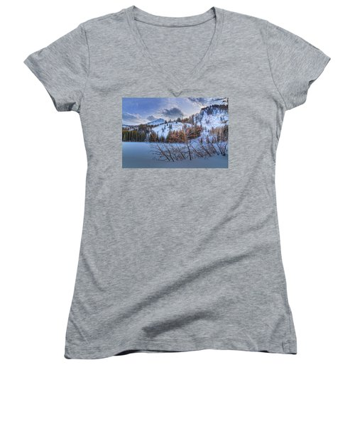 Wasatch Mountains In Winter Women's V-Neck T-Shirt (Junior Cut) by Utah Images