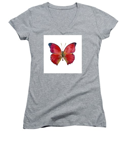 83 Red Glider Butterfly Women's V-Neck