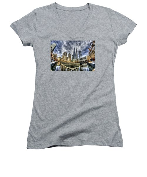 9/11 Memorial - Nyc Women's V-Neck T-Shirt (Junior Cut) by Rafael Quirindongo