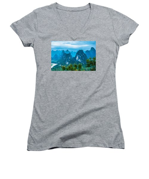 Karst Mountains Landscape Women's V-Neck (Athletic Fit)