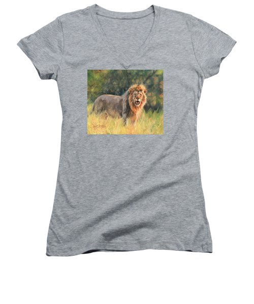 Women's V-Neck T-Shirt (Junior Cut) featuring the painting Lion by David Stribbling