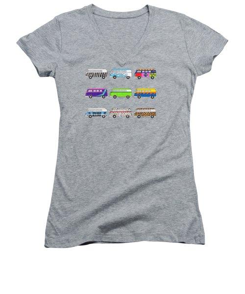 9 Wild Buses Women's V-Neck T-Shirt (Junior Cut) by Rita Palmer