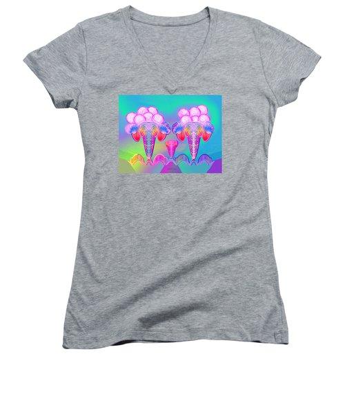 917 - Icecream Summerfruit A  Women's V-Neck T-Shirt