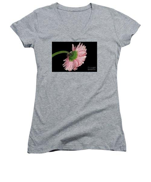Pink Gerber Women's V-Neck T-Shirt (Junior Cut) by Elvira Ladocki