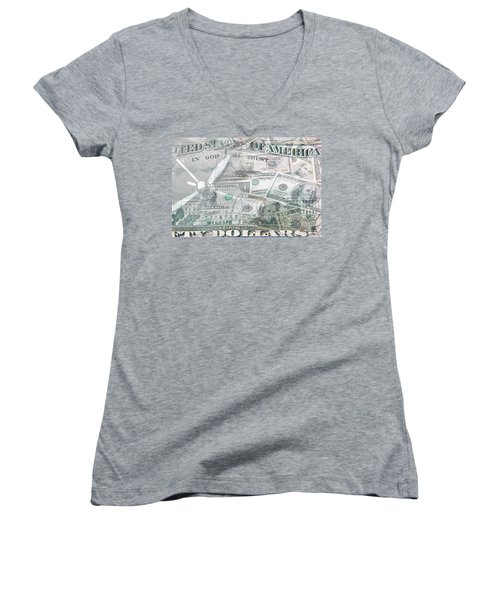 Women's V-Neck T-Shirt (Junior Cut) featuring the photograph Time Is Money  by Les Cunliffe