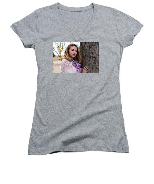 9g5a9596_e_pp Women's V-Neck T-Shirt (Junior Cut) by Sylvia Thornton