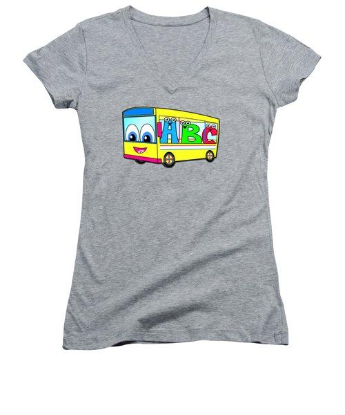 A B C Bus T-shirt Women's V-Neck T-Shirt (Junior Cut) by Herb Strobino