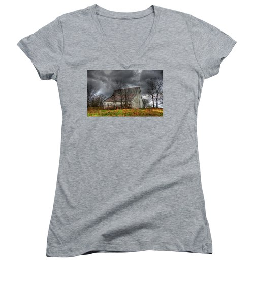 A Barn In The Storm 3 Women's V-Neck T-Shirt (Junior Cut) by Karen McKenzie McAdoo