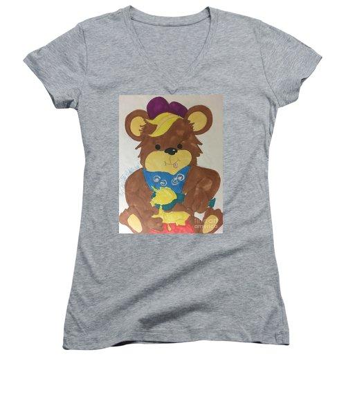 A Bear Loves Honey Women's V-Neck (Athletic Fit)