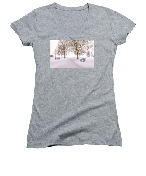 Women's V-Neck T-Shirt (Junior Cut) featuring the photograph A Beautiful Winter's Morning  by John Poon