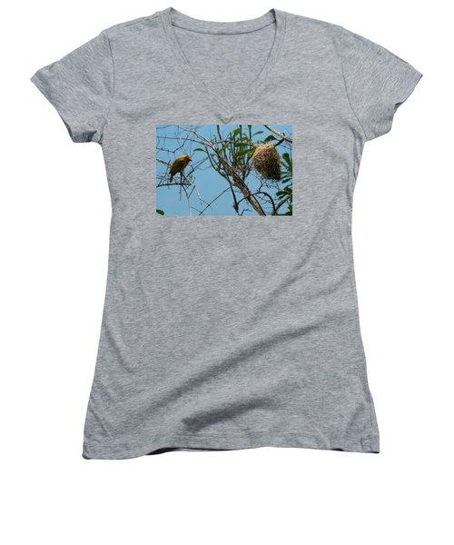 Women's V-Neck T-Shirt (Junior Cut) featuring the photograph A Bird In 3d by Paul SEQUENCE Ferguson             sequence dot net