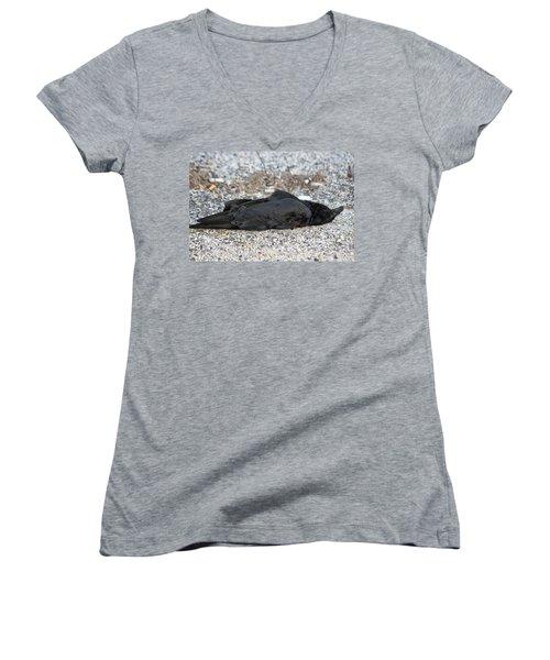 Women's V-Neck T-Shirt (Junior Cut) featuring the photograph A Birds Eye View Of   The End by Paul SEQUENCE Ferguson             sequence dot net