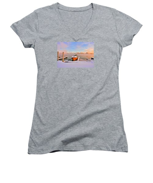 Boat On Frozen Lake Women's V-Neck T-Shirt (Junior Cut) by Rose-Maries Pictures