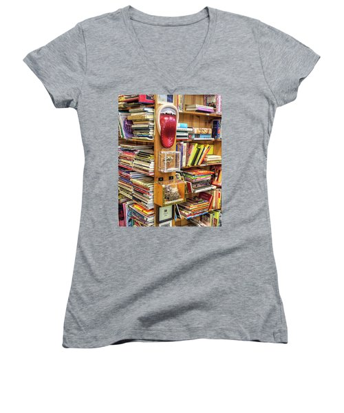 A Bookstore For All Tastes Women's V-Neck T-Shirt (Junior Cut) by Greg Sigrist