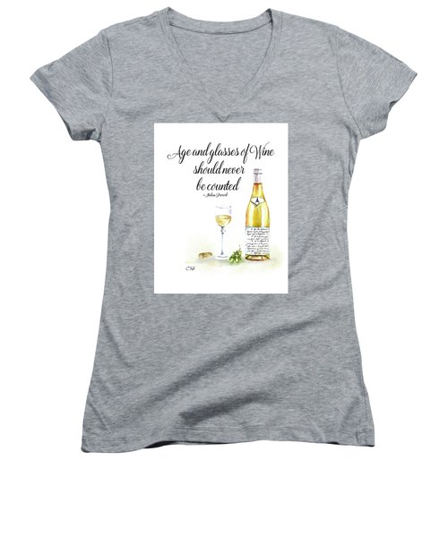 A Bottle Of White Wine Women's V-Neck T-Shirt (Junior Cut) by Colleen Taylor