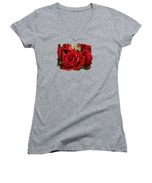 Women's V-Neck T-Shirt (Junior Cut) featuring the photograph A Bouquet Of Red Roses by Sue Melvin