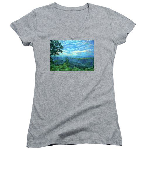 A Break In The Clouds Women's V-Neck T-Shirt (Junior Cut) by Kendall Kessler