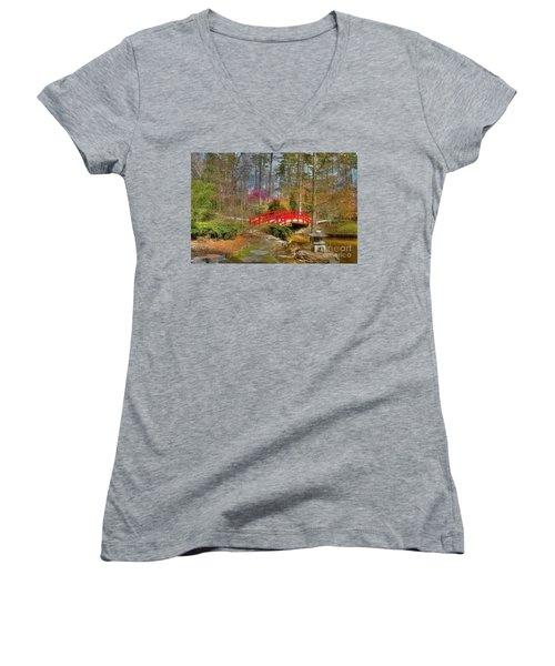 A Bridge To Spring Women's V-Neck T-Shirt