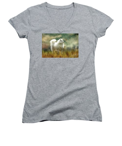 Women's V-Neck T-Shirt (Junior Cut) featuring the digital art A Brief Encounter by Lois Bryan