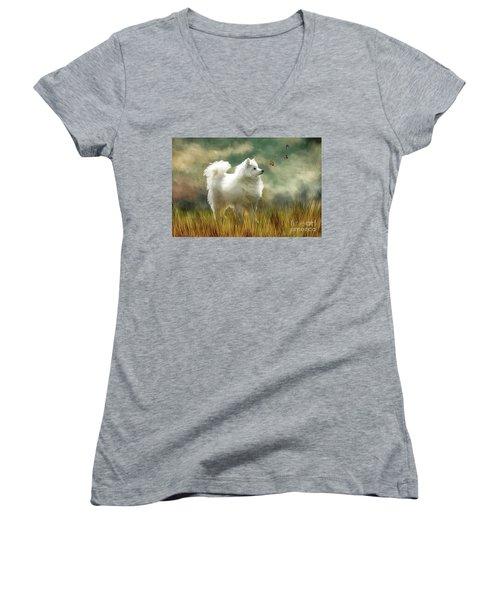 A Brief Encounter Women's V-Neck T-Shirt (Junior Cut) by Lois Bryan