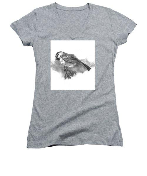 A Chickadee Named Didi Women's V-Neck T-Shirt (Junior Cut) by Dawn Senior-Trask
