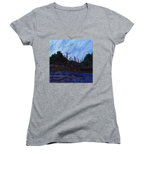 Women's V-Neck T-Shirt featuring the painting A City That Never Sleeps by Vadim Levin