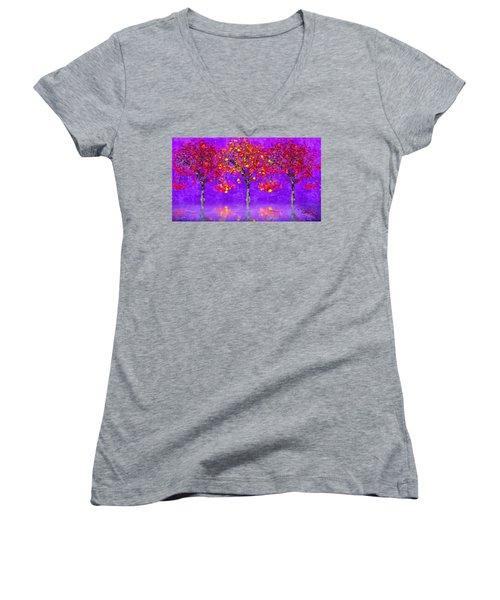 A Colorful Autumn Rainy Day Women's V-Neck T-Shirt
