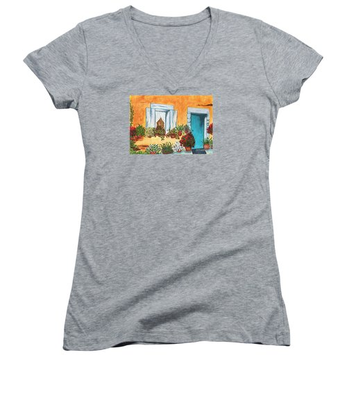 Women's V-Neck T-Shirt (Junior Cut) featuring the painting A Cottage In The Village by Patricia Griffin Brett