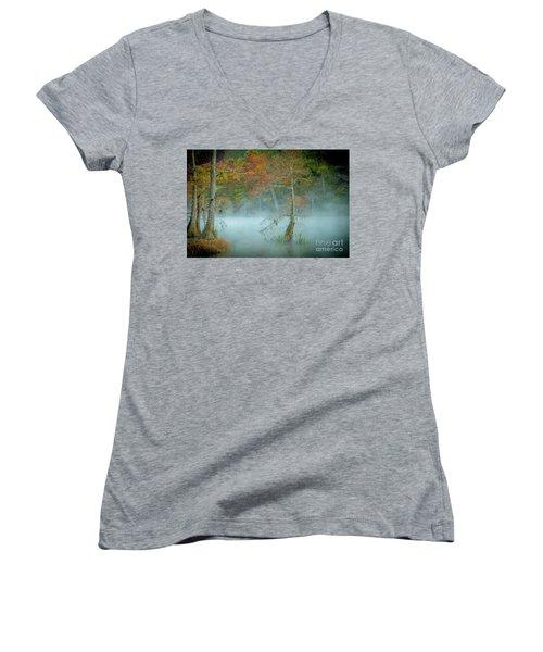 Women's V-Neck T-Shirt (Junior Cut) featuring the photograph A Dancing Cypress by Iris Greenwell