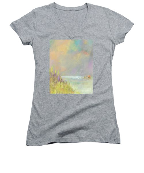 A Day At The Beach Women's V-Neck T-Shirt (Junior Cut) by Frances Marino