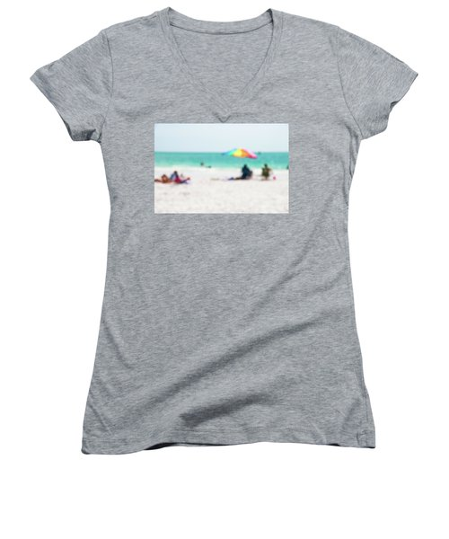 Women's V-Neck T-Shirt (Junior Cut) featuring the photograph a day at the beach IV by Hannes Cmarits