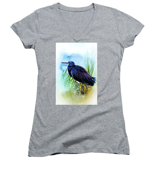 A Day In The Marsh Women's V-Neck T-Shirt (Junior Cut) by Cyndy Doty