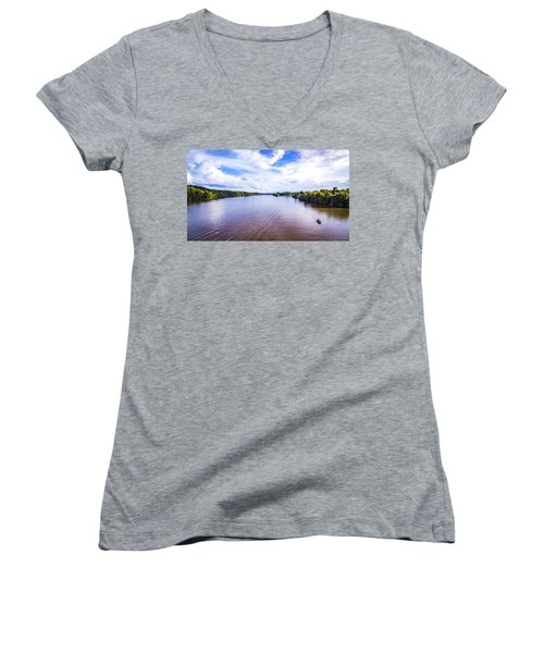 A Day On The River Women's V-Neck (Athletic Fit)