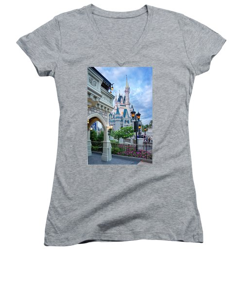 Women's V-Neck T-Shirt (Junior Cut) featuring the photograph A Different Angle by Greg Fortier