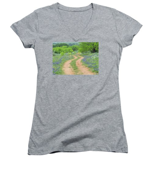 A Dirt Road Lined By Blue Bonnets Of Texas Women's V-Neck