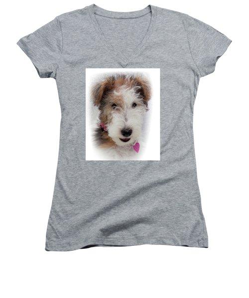 A Dog Named Butterfly Women's V-Neck T-Shirt (Junior Cut) by Karen Wiles