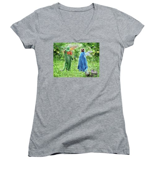 Women's V-Neck T-Shirt (Junior Cut) featuring the digital art A Dragon Confides In A Fairy by Lise Winne