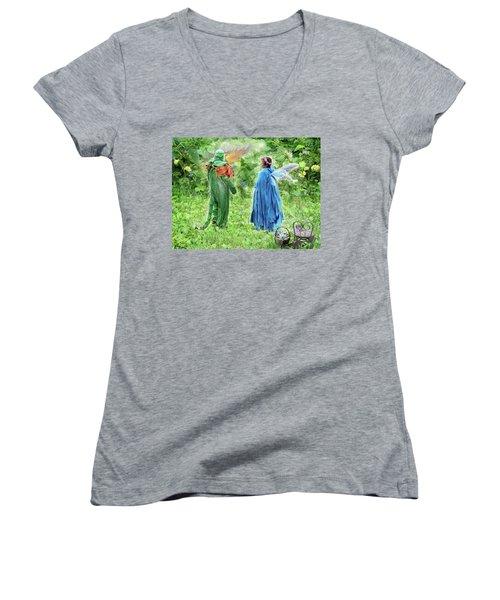 A Dragon Confides In A Fairy Women's V-Neck T-Shirt (Junior Cut) by Lise Winne
