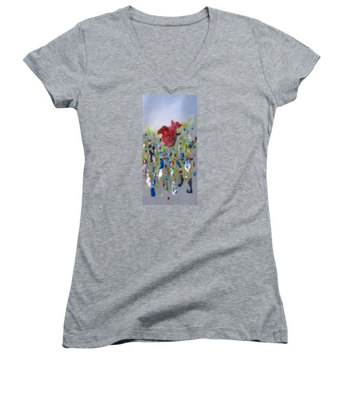 A Face In The Crowd Women's V-Neck T-Shirt (Junior Cut) by Mary Kay Holladay
