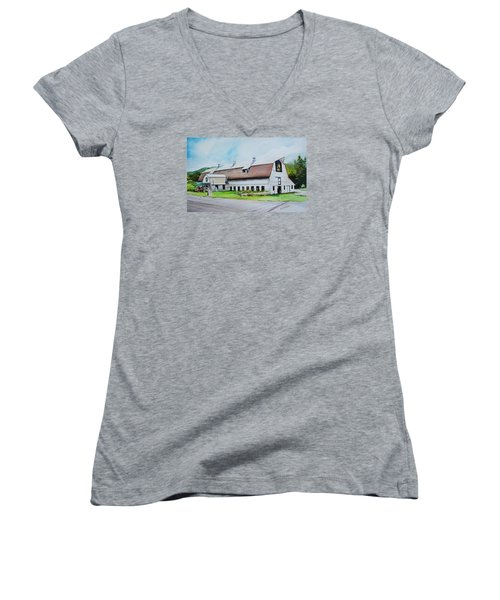 A Farmstand  In The Berkshires Women's V-Neck T-Shirt (Junior Cut) by P Anthony Visco
