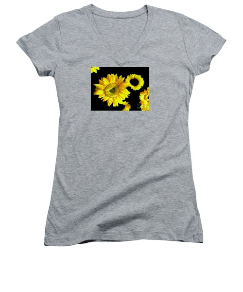 Women's V-Neck T-Shirt (Junior Cut) featuring the photograph A Few Sunflowers by Merton Allen