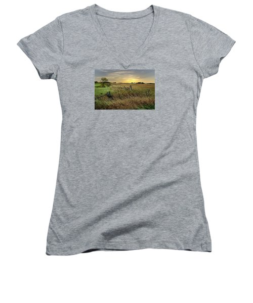 Women's V-Neck T-Shirt (Junior Cut) featuring the photograph A Field Of Gold by Judy  Johnson