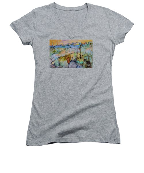 A Fine Day For Sailing Women's V-Neck T-Shirt (Junior Cut) by Sharon Furner