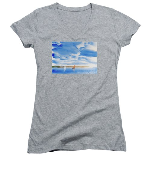 Women's V-Neck featuring the painting A Fine Sailing Breeze On The River Derwent by Dorothy Darden