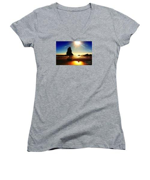 A Fire In The Sky Women's V-Neck T-Shirt (Junior Cut) by Scott Cameron