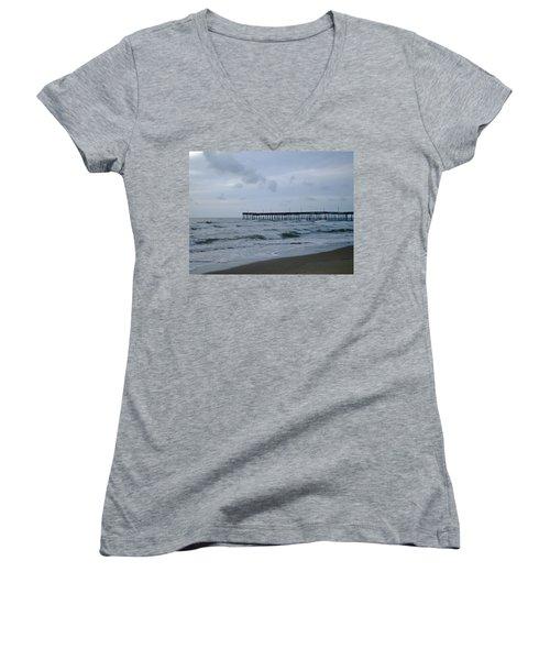 A Fishing Pier At Dawn Women's V-Neck T-Shirt