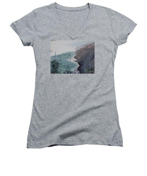 A Fog Creeps In Women's V-Neck T-Shirt (Junior Cut)