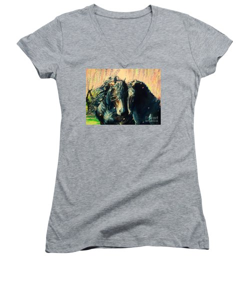 A Friesian Romance Women's V-Neck (Athletic Fit)