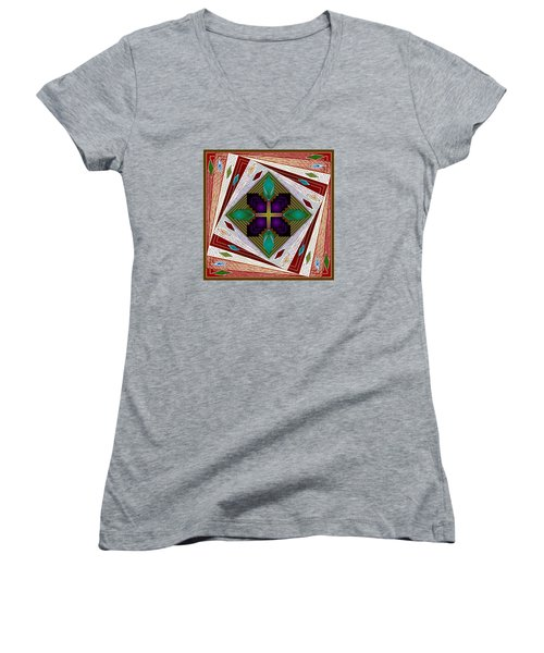 Women's V-Neck T-Shirt (Junior Cut) featuring the digital art A Game Of Diamonds by Mario Carini